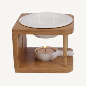 Brûleur à huile en céramique et bambou